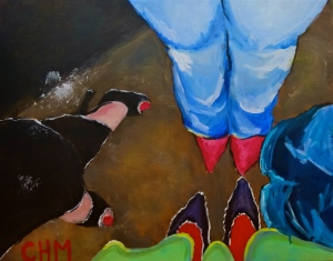 "Shoes by Constance Moussouris, 22""X28"", Acrylic on Canvas"