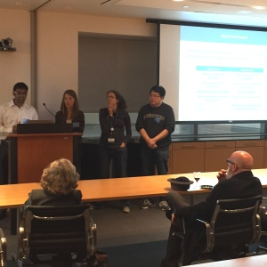 "One of the teams from the CTSC's Biodesign and Creativity course ([L to R] Mayur Gadiya, Kasia Konopacki, Jennifer Cracchiolo, Zhe Wang) presents its proposal ""The Sticking Point: Improving Patient Experience During IV Stick Procedures."""