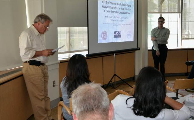 During a Research in Progress Luncheon in May, Brian Fidali, a TL1 Trainee, presented his research, following an introduction by Associate Program Director Olaf Andersen, MD.